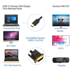Image 3 - QGeeM usb c ל dvi כבל סוג c ל dvi מתאם Thunderbolt תואם עבור MacBook Pro 2016 2017, גלקסי S8 Note8,huawei mate 10
