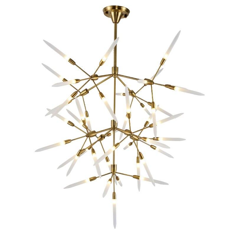 Modern 45 head led pendant light Bjornled hanging lamp gold metal acylic lampshade G4 LED bulb warm white 3000K free shipping