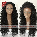 Wholesale Price Synthetic Hair Wigs Long Cul Black Color Deep Curl Lace Front Wigs 180 Density Synthetic Lace Front Wig