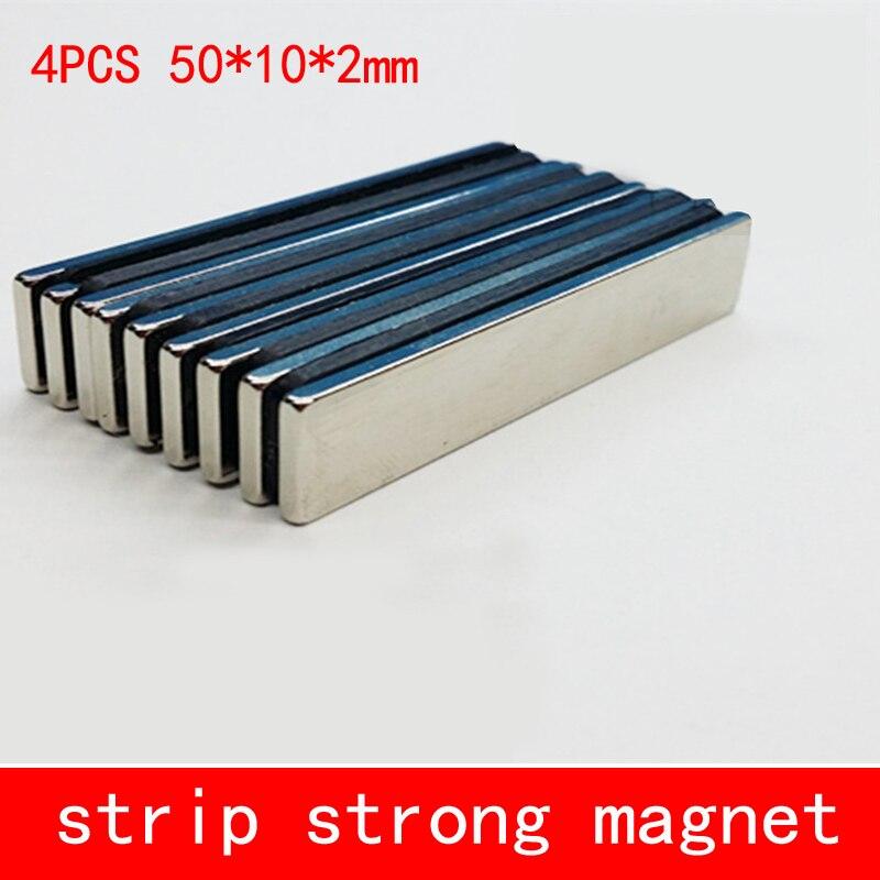 4pcs/lot 50 x 10 x 2 mm N35 Super Strong Block Cuboid Neodymium Magnets 50*10*2mm Rare Earth Powerful Magnet hakkin 5pcs super strong neodymium magnet block cuboid rare earth magnets n35 20 x 10 x 2mm