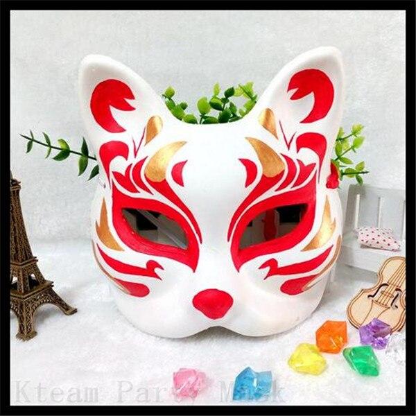 pure hand painted fox mask endulge japanese full face pvc halloween