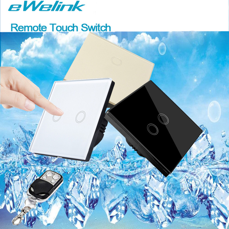 eWelink EU Standard Wall Touch Switch,Glass Panel 2 Gang 1 Way Remote Control Switch+LED backlight Comaptible Broadlink Pro remote switch wall light free shipping 3 gang 1 way remote control touch switch eu standard gold crystal glass panel led