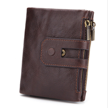 RFID double zipper seventy percent off purses men's short soft face wallet Oil and wax leather for wear resistance
