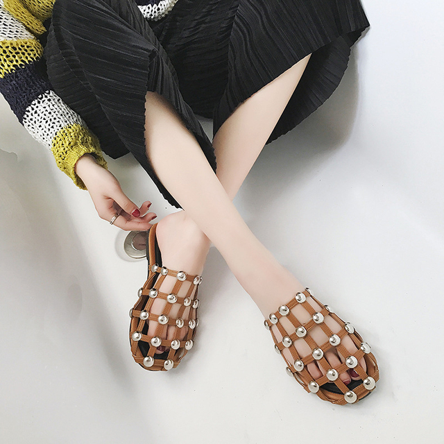 Parkside Wind Women Fashion Slippers Summer New Metal Rivets Flats Rome Style Women Slippers Designer Brand Shoes Woman -5