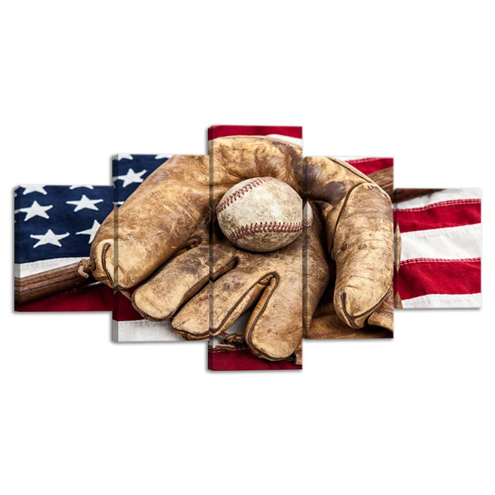 Baseball Sports Decor Usa Us American Flag Rustic Wall Art