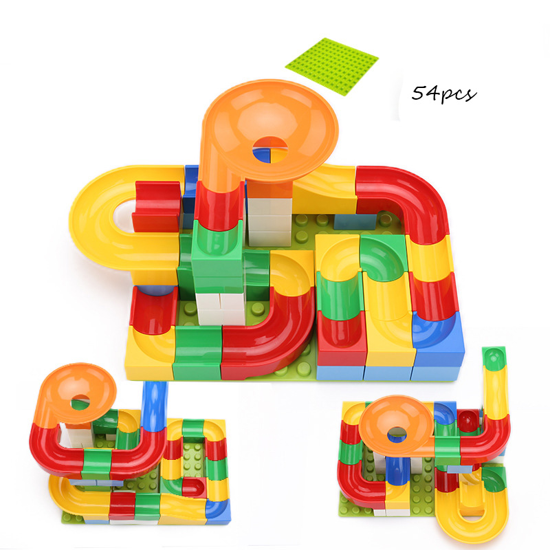 52-208Pcs Marble Race Run Maze Balls Track Building Blocks Funnel Slide Big Size Building Brick Compatible Legoed Duploed