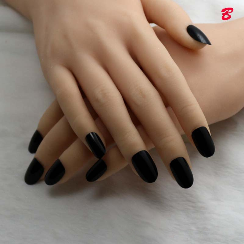 Pearl Black False Round Nails Candy Color Nail Artificial