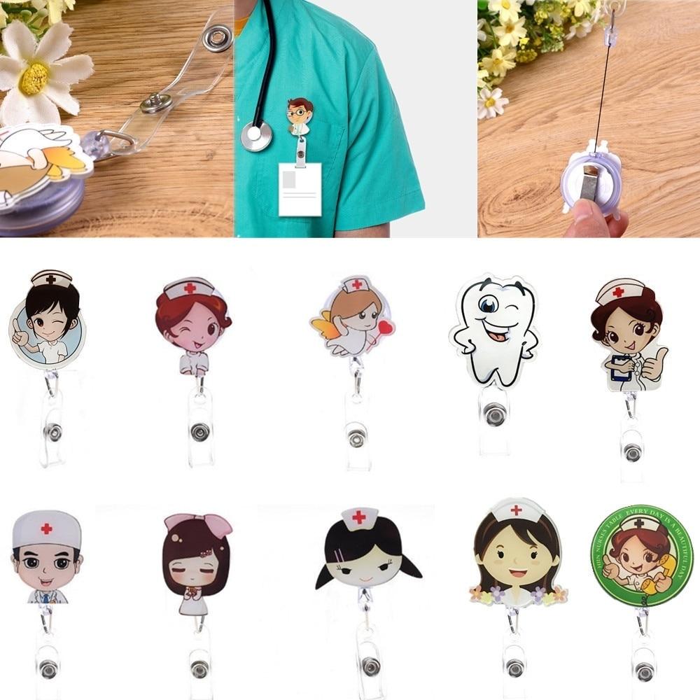 Cute Cartoon Print Retractable Badge Reel Belt Nurse Doctor ID Card Holder Clip