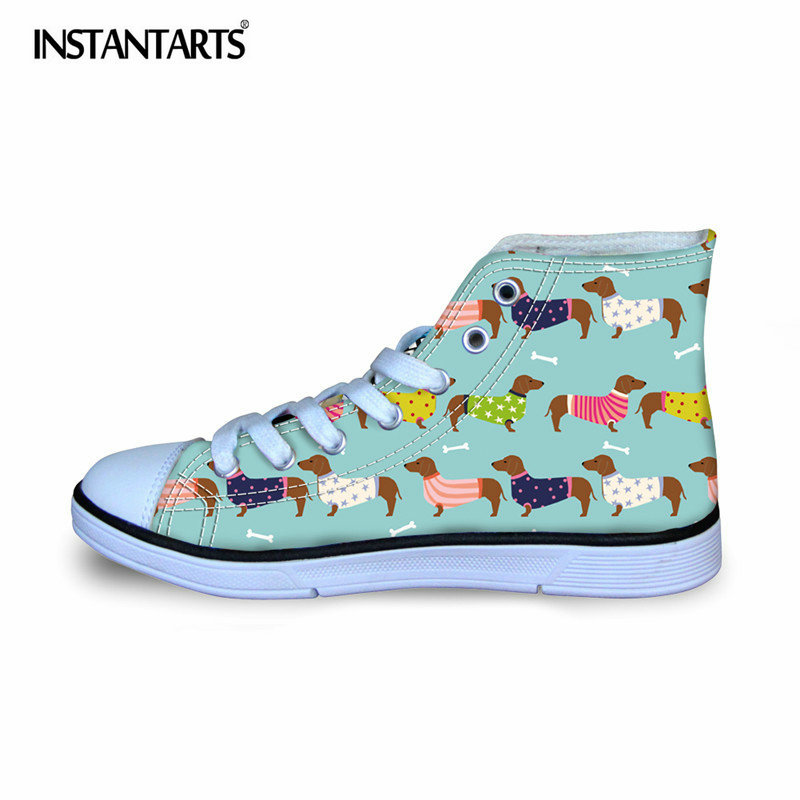 INSTANTARTS Cute Dachshund Dog Print Children Flat Shoes Stylish High Top Vulcanize Shoes for Girls Boys Comfort Canvas Shoes stylish 3 4 sleeve abstract print high low blouse tank top twinset for women