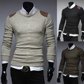 Free shipping fashion solod mens sweaters long sleeve mens knit sweaters O-Neck pullover sweater 3 colors M-XXL H7704