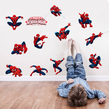 Diy 11 Pose Spiderman Decorative Wall Stickers For Kids Room Pvc Wall Decal Children Boy Nursery Room Decoration Super Hero Gift