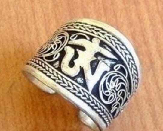 Perhiasan Cincin Mutiara Tibet Silver Satu Kata Mantra Cincin Jempol Gratis Pengiriman
