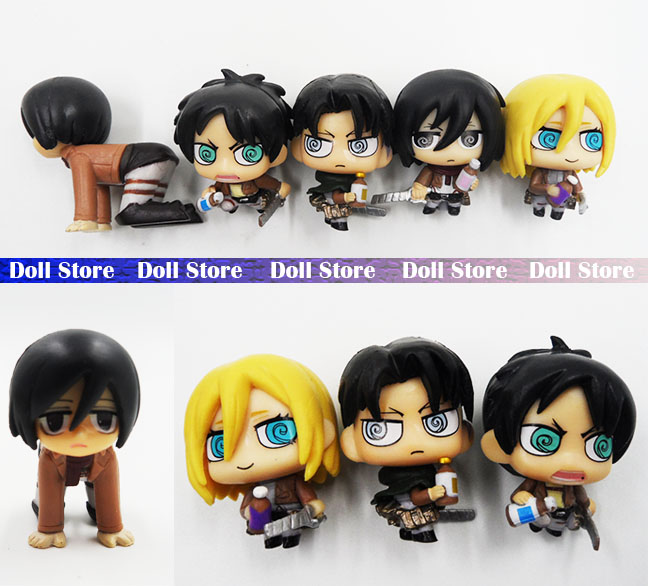 3.5cm Q version  kawaii Cute attack on titan figure Japanese anime figure toys Action Figure Collection Toy
