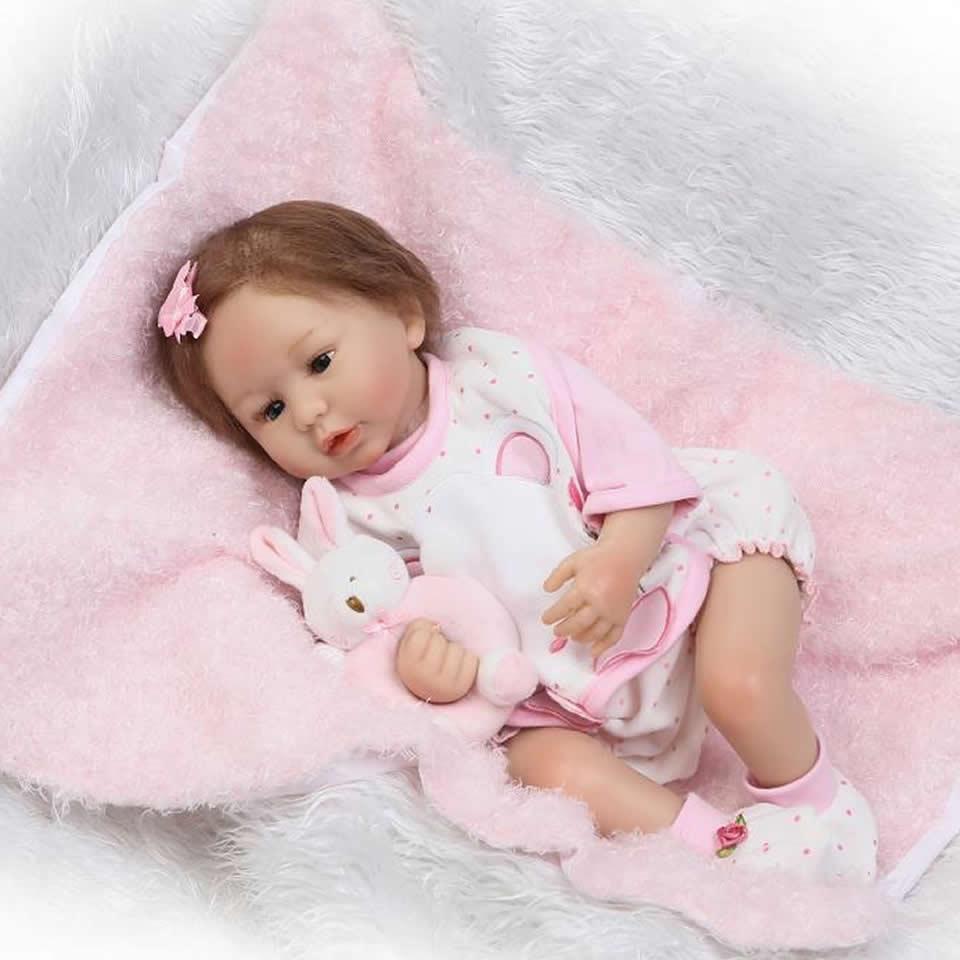 Здесь можно купить   2017 New Reborn Dolls Realistic Kids Playmates 22 inch Soft Silicone Baby Dolls Girl Alive 55 cm Reborn bebe Xmas Gifts  Игрушки и Хобби