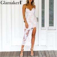 Glamaker Sexy split lace white dress Women sundress fitness mesh embroidery knitting Female party elegant dress vestidos 2018