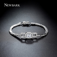 NEWBARK Luxury Bowknot Bracelet Chain & Link Princess Cut 4 Colors CZ Stones White Gold Plated Party Jewelry Bracelets For Women