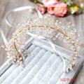Невесты плотные шарики лента венок головной убор Ручной Работы оголовье Из Бисера кристалл украшения для волос свадебный головной убор цветок Оголовье
