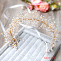 bride dense beads ribbon wreath headdress Handmade headband Beaded crystal hair ornaments bridal headdress flower Headband