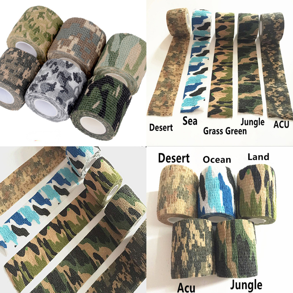 Army Camo Camouflage Tatoo Grip Wrap Durable Disposable Elastic Tape Waterproof Nonwoven Wrist Wound Bandage Sports Support