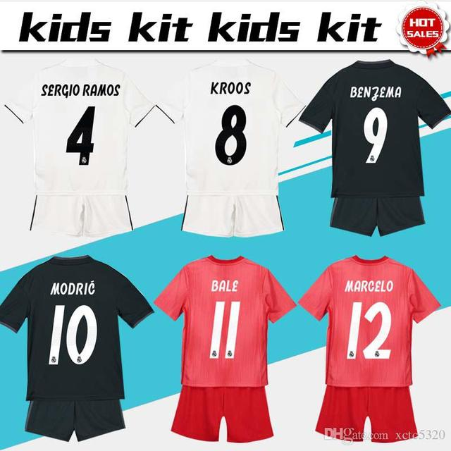 b2a7eb54a Thai quality 2019 Realed Madrided kids kit Soccer jersey 18 19 MARIANO BALE  BENZEMA child football camisetas Free shipping