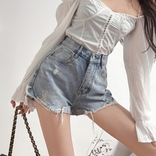 Fashionable Summer Streetwear Korean Style High Waist Women Denim Shorts Casual Loose Letter Printed Wide Leg Ladies Short Pant цена