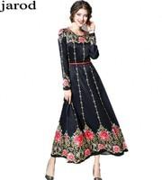 High quality designer Fashion runway Maxi dress Women's long sleeve Palace Vintage amazing Floral print Black party long dress