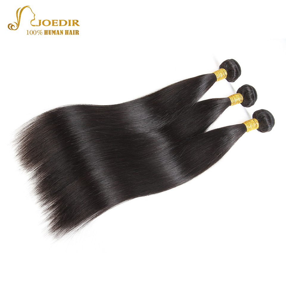 Joedir Malaysian Straight 3 Bundles Deal Double Drawn Human Hair Natural Black Hair Extension Straight Human Hair Bundles