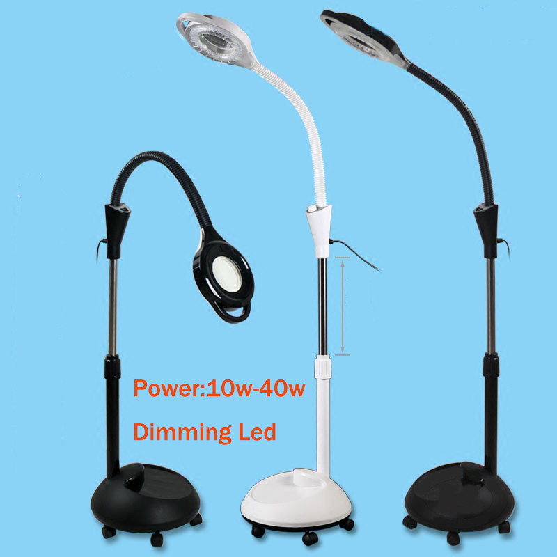 Magnifier 10 Style 10W 40W LED 8X Magnifier Floor Lamp with 5 Wheels Adjustable Height Magnifying Light for Beauty Salon Reading