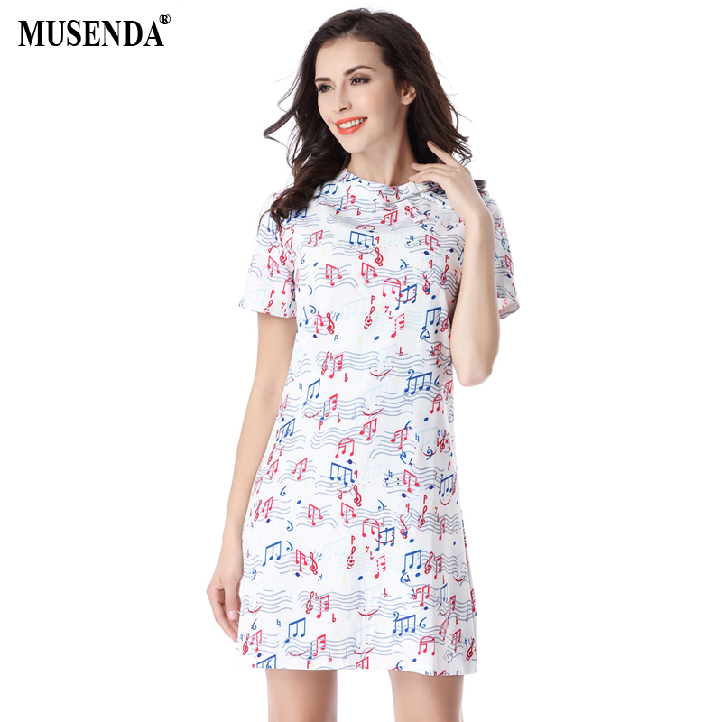 MUSENDA Women Elegant Color Music Notes Print Dress Summer Casual Fashion Wear to Work Business Party Mini Dresses