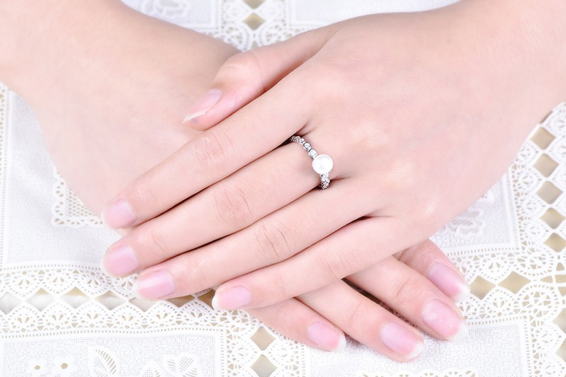white gold rings for women and freshwater pearl  rings NR55230A (4)