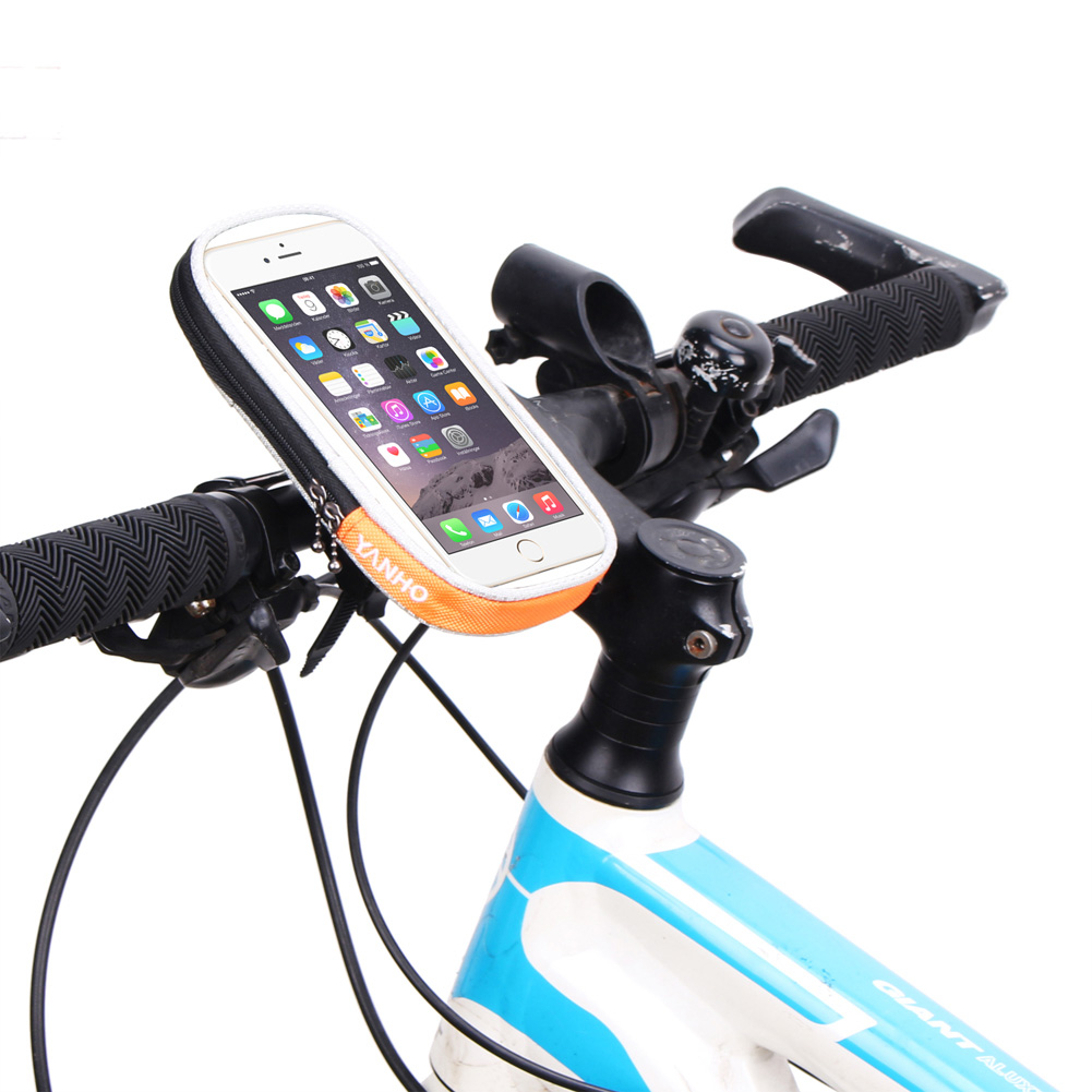 Bicycle Mobile Phone Bag Cycling Bike Bag Waterproof Phone Holder Bracket Front Frame Handlebar Pouch Case Accessories with Rope аквабокс overboard waterproof phone case and bike mount ob1156blk