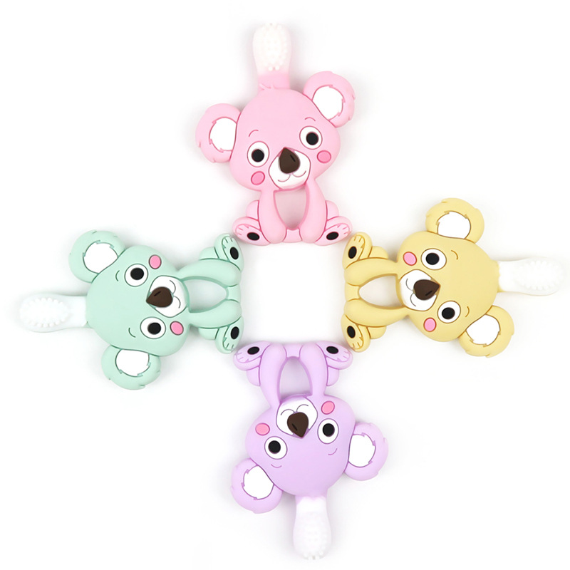 Baby Teether Koala Shape Stick Chews Silicone Infant Bebe Dental Care Toothbrush Toddler Training Teething RingTeethers   -