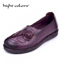 2018 New Autumn Women Flats Genuine Leather Shoes Women Casual Loafers  Flower Flat Heel Shoes Soft 562c372bfc79