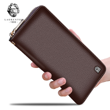 LAORENTOU Brand New Men Cowhide Long Wallets Business Man Genuine Leather Clutch Wallet Men's Clutch Bag with High Capacity