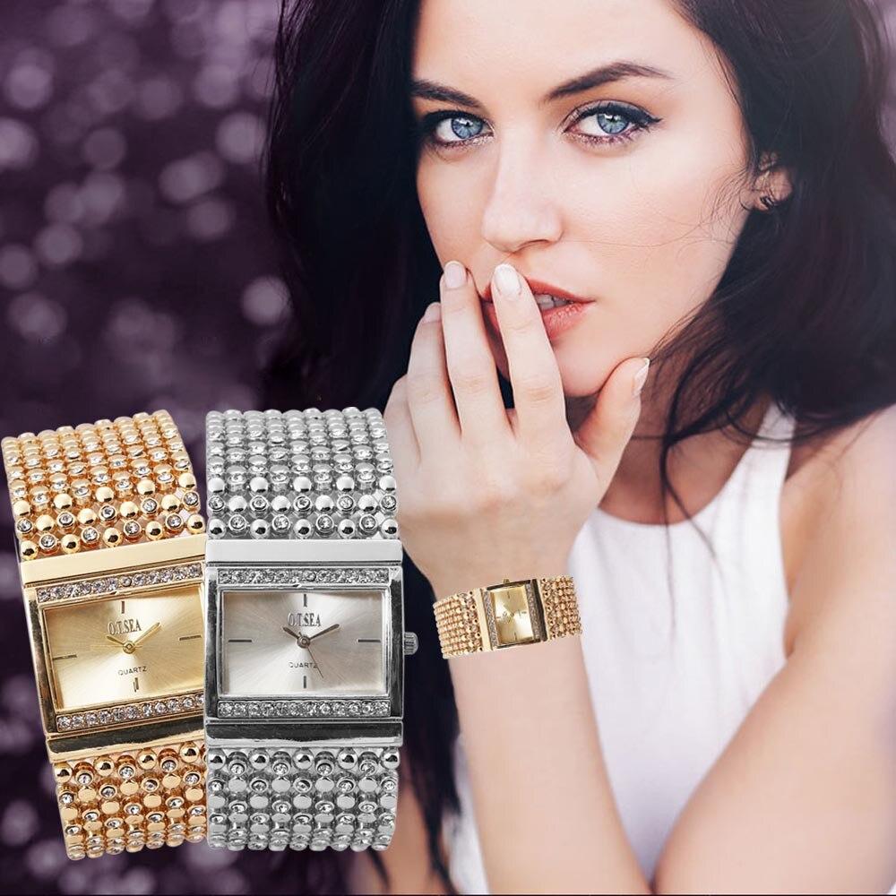 Hot 2017 Women's Stainless Steel Quartz Watch Rhinestone Crystal Analog Wrist Watch Gift relogio masculino Uhren relojes Fe28