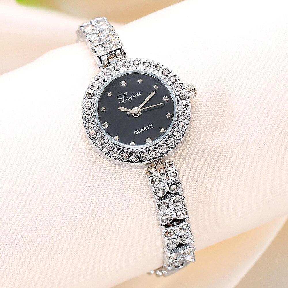 2019 Womens Watch Quartz Watches Women's Fashion Ladies Women Unisex Stainless Steel Rhinestone Quartz Wrist Watch #30