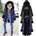 Mujeres Down Jacket Coat Medio Largo Mujer Abajo Cremalleras Botón Parka Mujeres Abrigo de Invierno 2017 Nuevo Invierno Colección C809