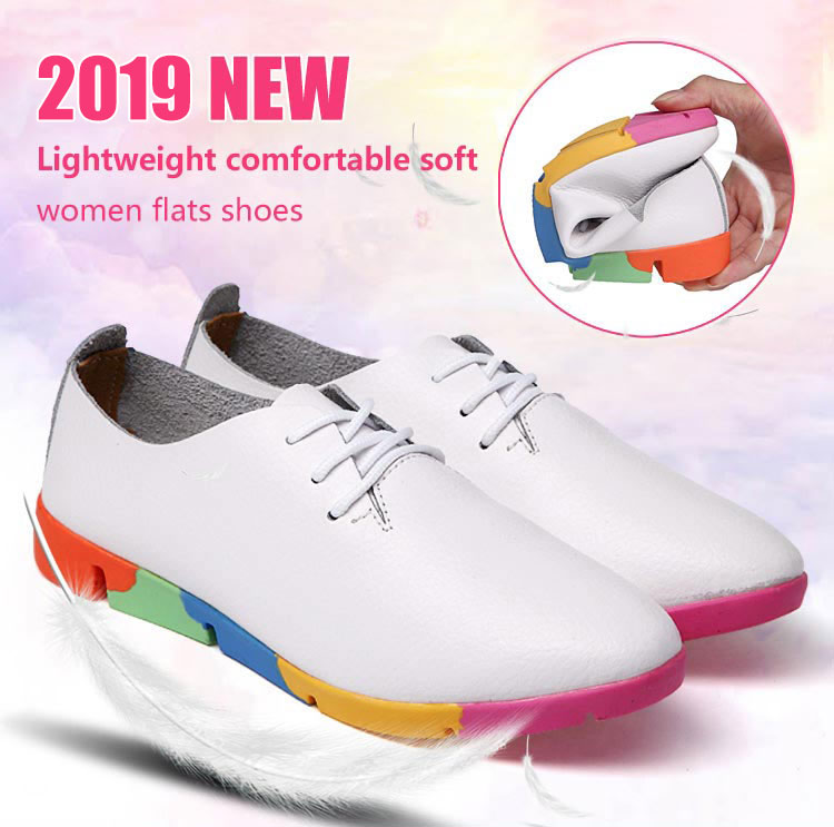 2019 new breathable genuine leather flats shoes woman sneakers tenis feminino nurse peas flats shoes plus size women shoes stq