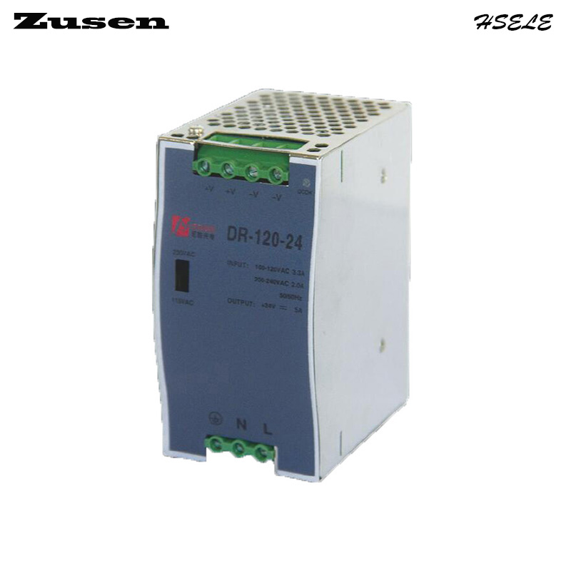 Zusen DR-120W-24V 5A overload protection Din Rail Switching Power supply 110/220VAC to 24VDC free shipping free shipping 24vdc 2 5a 60w din rail switching model power supply smps dr 60 24