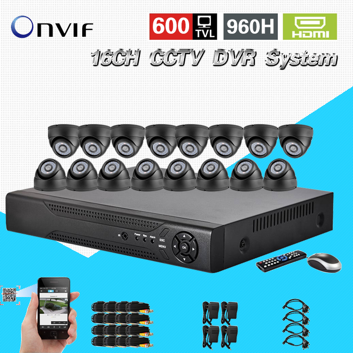 TEATE Home CCTV Security 16CH Standalone Network DVR Camera Video system 16pcs Weatherproof Camera surveillance DIY Kit CK-167