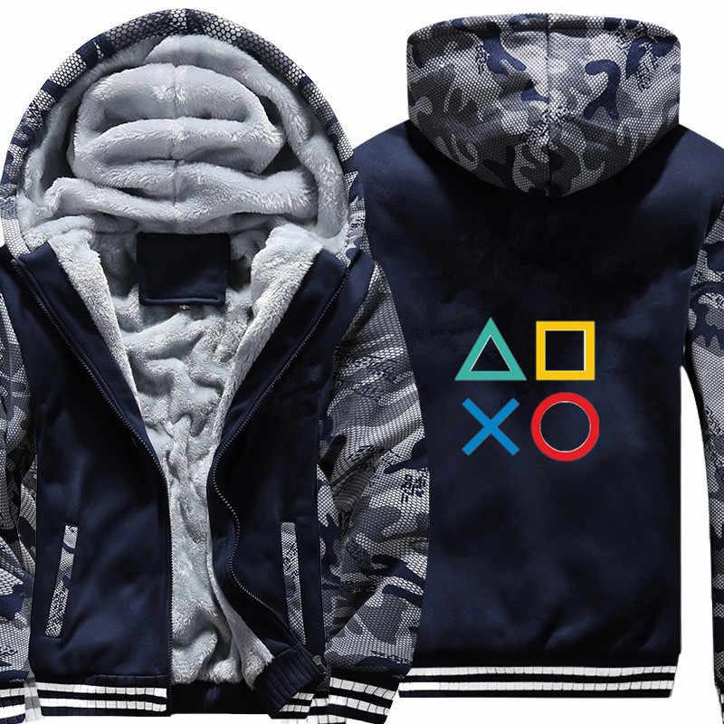 9ae31f61 Для мужчин игры PS4 Playstation зимняя камуфляжная Толстовка Повседневное  супер теплый жакет плотным ворсом на молнии