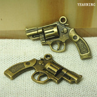 Yearning Accessories Zinc Alloy Antique Bronze Mini Simulation Revolver Charms Pendants 29*23MM 30pcs/lot