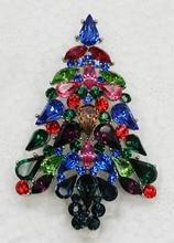 Fashion brooch Colorful Marquise Rhinestone Christmas tree Pin brooches Christmas gift C552 EL