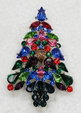 Fashion brooch Colorful Marquise Rhinestone Christmas tree Pin brooches Christmas gift C552 EL