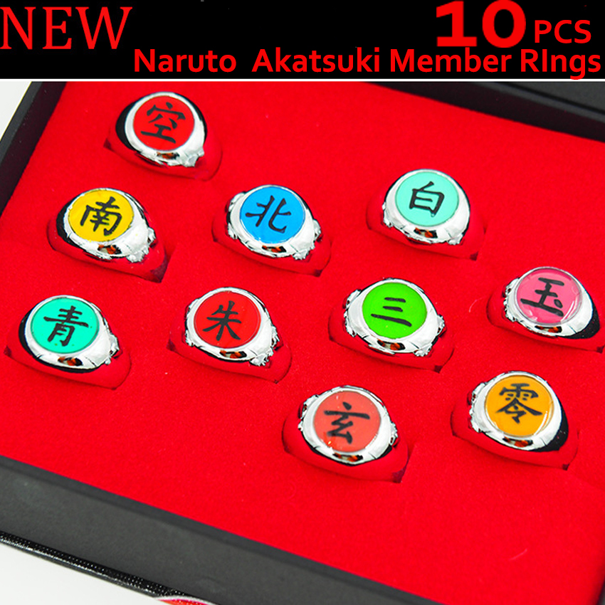 10pcs/set Top Anime Naruto Rings Akatsuki Finger Ring Cosplay Prop Jewelry Unisex Lover Halloween Collection & Box Fashion Gifts anime naruto cosplay weapon sword darts pedant 6pcs set for children christmas gifts