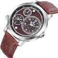 SKONE Homens Militar Relógios Relógio Masculino Relógio Pulseira De Couro de Quartzo Dos Homens Top Marca de Luxo Vários Fusos horários Relógios de Pulso
