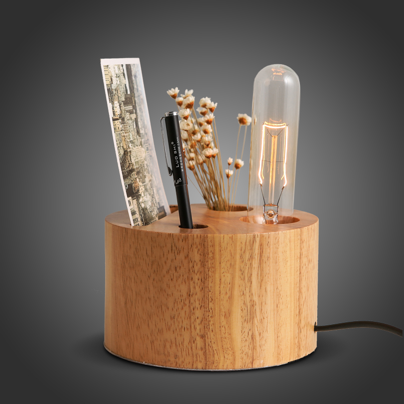 Nordic Rh Loft Vintage Industrial Solid Wood Pen Container Decoration Desk Lamp Table Light Coffee Shop Club Store Restaurant dj контроллер numark nv