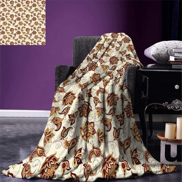 Paisley Throw Asian Blooming Beauty Classical Ethnic Fashion Themed Ornate Floral Motif Warm Microfiber Blanket