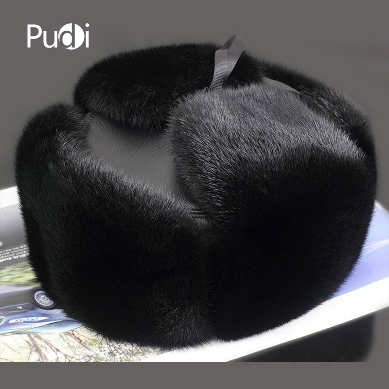 Pudi 170758 men mink fur hat Men s Mink Fur Trapper Cap Genuine Sheepskin Leather Hunting