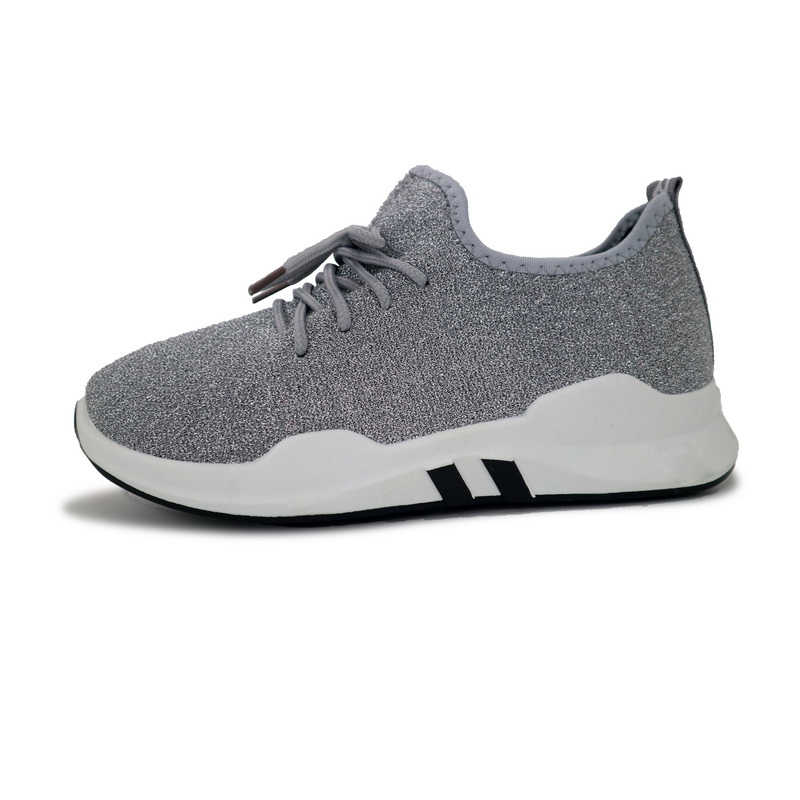 Hellenia גדול ילדה נעלי גודל 36-40 אופנה חיצוני נעלי ספורט לנשימה אור דירות ריצה נעליים יומיומיות נשים תחרה עד שחור אפור
